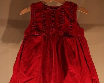 Vintage dress girls corduroy red pink ruffles