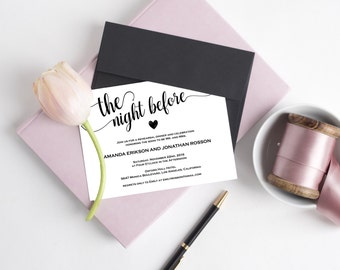 Rehearsal dinner invitations the night before - Rustic kraft wedding invitations - Brown kraft wedding invitations #WDH0015