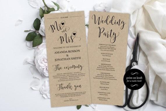 Printable Wedding Program Template - Modern Heart Kraft - 4x9.25 Rustic Program - Mr and Mrs wedding program - Downloadable wedding #WDH0127