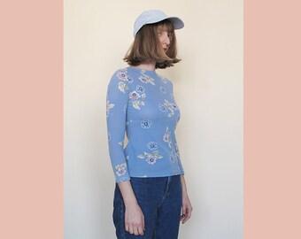 90s Floral Print Top, Long Sleeve Women T-Shirt, Floral Print Shirt, 90's Girl, 90s Lolita, Pastel Blue Top, Vintage 90s JUS D'ORANGE Paris