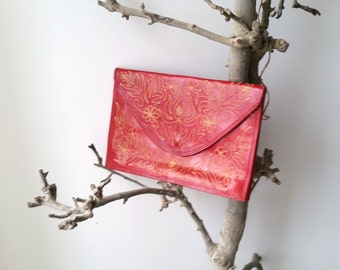 Beautiful red clutch with embroidery