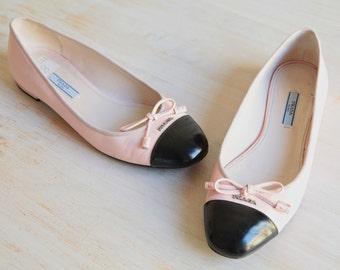 SOLD OUT - Prada Patent Cap Toe Ballerina Flats, Prada Ballerina Pink & Black Flats Size 38