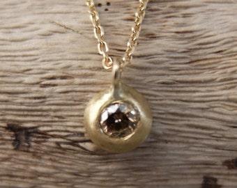 18K Matt Yellow Gold Champagne Diamond Necklace