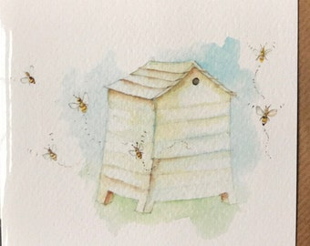 Beehive Card taken from an Original Watercolour / Notelets / Birthday Cards / Thank you Cards / Blank Cards