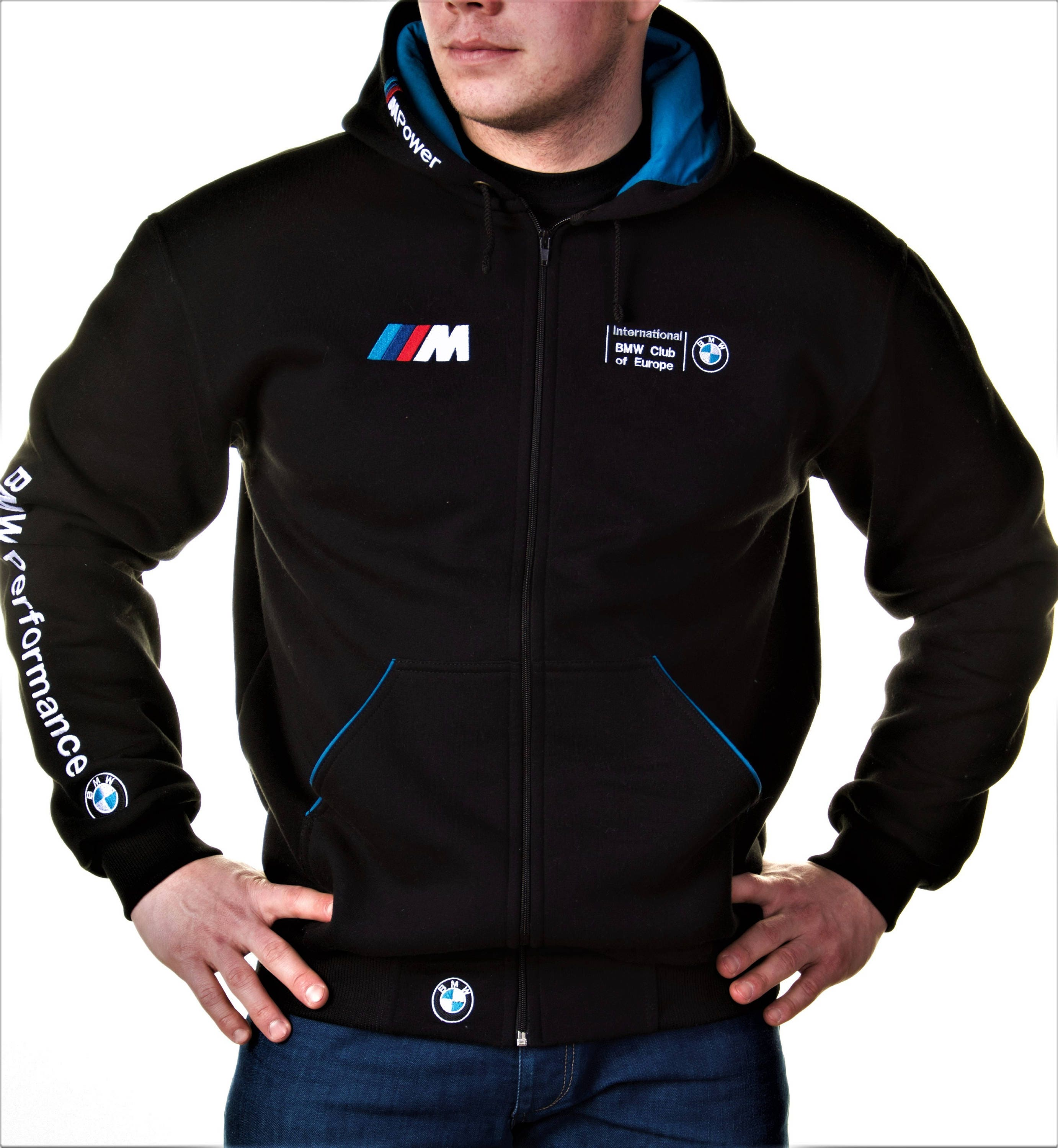 zip hoodie bmw m power motorsport broderie logos meilleure. Black Bedroom Furniture Sets. Home Design Ideas