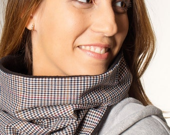 woman chunky scarf, cowl, woman scarf, infinity scarf, woman neck warmer, woman gift ideas, fleece scarf, hounds tooth scarf, accessory