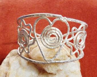 Suns & Heart Silver Cuff Bracelet