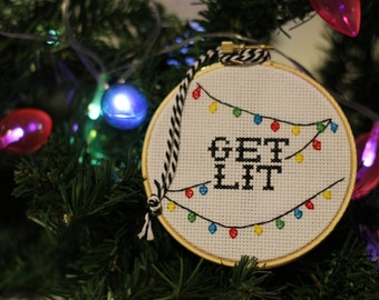 Get Lit Cross Stitch Christmas Ornament