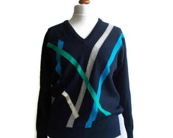 Vintage Wool Sweater, Pure wool sweater, Lambswool sweater, Alan Paine Sweater, Womens vintage jumper, retro sweater, Navy sweater ,Size M/L