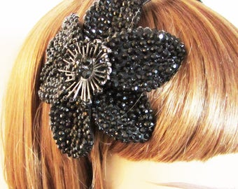 Black Wedding Hairband, Black Hairband, Black Fascinator, Large Flower Hairband, Sparkly Black Hairband, Black Floral Hair Piece, Hairband