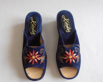 vintage lady's blue slippers