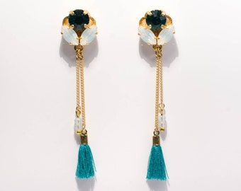 Crystal Light-emerald green-Golden-based drop earrings with Swarovski crystals and tassels