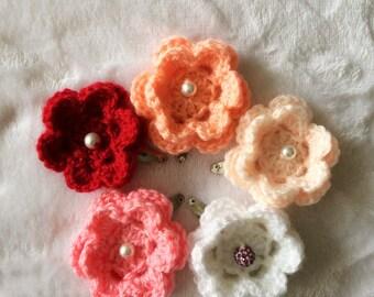 Clip hair crochet flower for girls