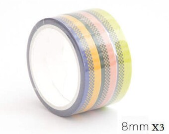 Colour Stripe Grid Washi Deco Tape - 8mm X 5 meters - 3 in 1