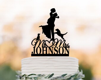 Custom Wedding Cake topper with two dog, bride and groom silhouette, personalized wedding cake topper letters,  unique dog cake topper