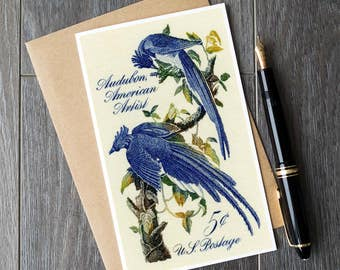 Columbia Jay, birdwatcher card, birdwatcher gift, birdwatching, ornithology, ornithologist, Audubon prints, Audubon bird cards, blue jay art