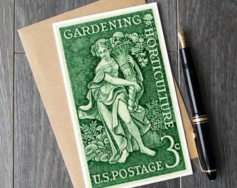 gardening birthday cards, gardener christmas cards, xmas gifts for mom, mom gardening, second anniversary, college girl dorm, feminist art