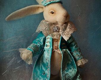 White Rabbit Alice In Wonderland Needle Felted White Rabbit Needle Felted Bunny, Rabbit from Alice, Felt Rabbit, Art Doll