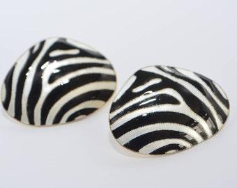 Vintage Designer Laurel Burch Black and White Enamel Sterling Silver 24K Gold Wash Zebra Animal Print Post Pierced Stud Earrings