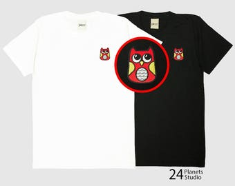 Buy 2 Get 1 Free Owl Embroidered T-Shirt by 24PlanetsStudio