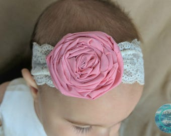 Baby Headband, Choose Color, Newborn Headband, Lace Baby Headband, Rolled Fabric Rose, Baby Hair Bows
