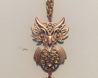 Vintage Gold-Plated Movable Owl Necklace on Cable Chain