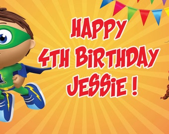 Super Why Personalized Birthday Banner/Backdrop
