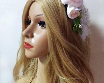 White Wedding Headpiece, Rustic Wedding Barrette, Wedding Flower,  Headpiece Flower, Rose Barrette, White Rose Headpiece, Luxury Barrette