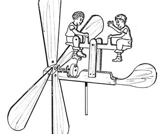 See Saw Twins Whirligig #608 - Woodworking, Craft Pattern, Blueprint Pattern, Trace and Create, Same Size Pattern, Outline Drawing,
