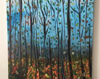 Falling Autumn, fall, autumn paintings, paintings of autumn, fall paintings, acrylic paintings of fall, fall canvases, fall canvas
