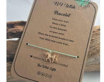 Handmade Unicorn Fertility Wish Bracelet, Good Luck, Gold Charm - TTC IVF ICSI - Choice of Colours, Tie on
