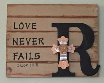 Love Never Fails Distressed Family Monogram