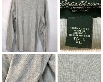 Vintage Thermal Shirt Henley Eddie Bauer 100% soft waffled cotton gray oatmeal Long Sleeves XL Tall