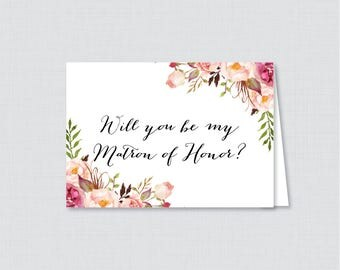 Printable Will You Be Matron of Honor Cards - Pink Will You Be My Matron of Honor Card, Matron of Honor Proposal - Rustic Pink Flowers 0004