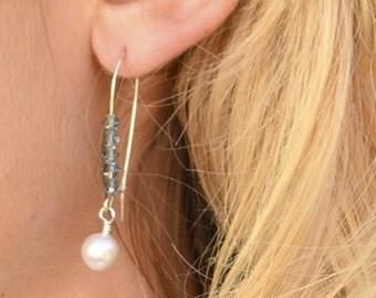 "Earrings, Blue Swarovski Crystal and White Pearl, 2"""