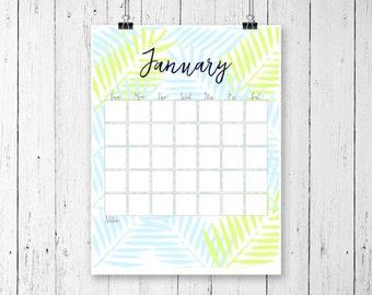 Undated Monthly Calendar, Undated Desk Calendar, Printable Desk Calendar, Monthly Wall Calendar, Perpetual Calendar, Undated Planner, A4