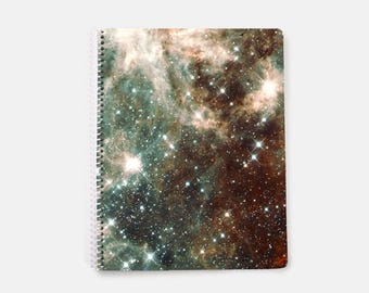 Galaxy Notebook A4, Nebula Notebook, Space Notebook, Lined Notebook, Spiral Notebook, Brown Notebook, Large Notebook, Bujo, Bullet Journal