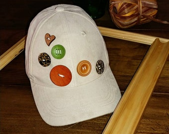 Beige Baseball Hat with Buttons, Baseball Hat with Buttons, Baseball Hat, Women's Hat, Baseball Hat for Teenagers, Buttons Hat,