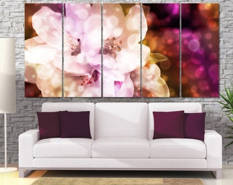 High Quality Large Bokeh Flower Photo Canvas Print - Natural Apple Flower Framed Wall Art -  Hand Made in Europe for Home and Office_LC036