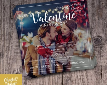 Photography Valentine Mini Session Template for Photographers PSD Flat card - Photoshop template 5x5 flat square card - CNPMS1601