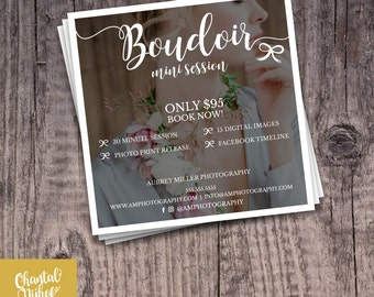 Photography Boudoir Mini Session Template for Photographers PSD Flat card - Photoshop template 5x5 flat square card - CNPMS1701