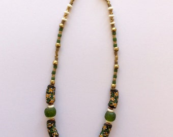 A lovely green and black Handpainted Krobo beaded necklace