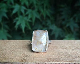 Golden Rutilated Quartz Ring Size 7 / Square Rutilated Quartz / Sterling Silver Ring / Rutile Quartz Ring / Gold Rutilated Quartz