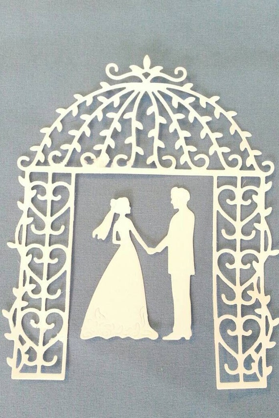 Wedding Couple Groom And Bride With Arch Die Cut Scrapbook