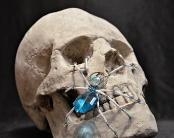 Icy White, Blue and Silver Beaded Spider
