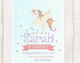 Pegasus Unicorn Rainbow Invite | Girls Birthday Party Invitation | Digital Download | Customised Personalised | Printable | Little Pony