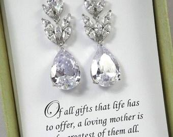 Mother of the Bride Gift Earrings, Mother of the Groom Gift Earrings, Gift for Mom, Gift for Stepmother, Drop Crystal Wedding Earrings