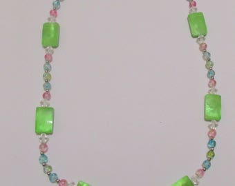 Lime Green Focal Bead Statement Necklace