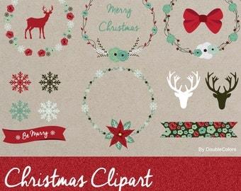 Christmas clipart, clipart Christmas wreath, vector Christmas.
