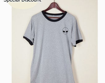 Alien Shirt Tshirt Tumblr Head Funny Wording Quote Light Gray and White on Chest